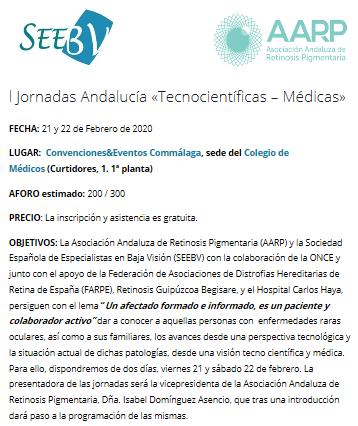 Retinosis Gipuzkoa Begisare participará en las l Jornadas de Andalucía «Tecnocientíficas – Médicas»